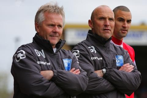 Gary Whild (left), praised Harriers boss Steve Burr (right). Picture: ADRIAN HOSKINS