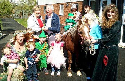 Residents of the Waterside care home enjoy the faery day.