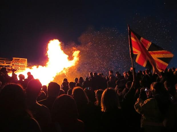 The Union Jack flag flying added to the drama of the beacon burning in the background...an awesome sight