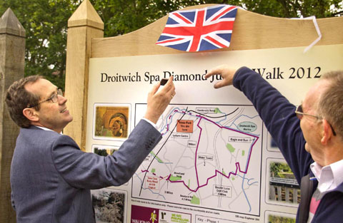 GET WALKING: MP Peter Luff unveils the board with the new Jubilee walk in Droitwich.