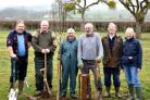 APPLE: Volunteers Trefor Cook, Derek Pugh, Tony Harrison, Paul Danby, Ambrose Benjamin and Liz Benjamin planting trees.