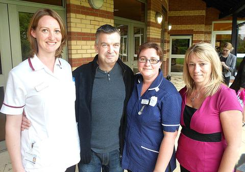 SUPPORT NETWORK: From left, Liz Gould, speech and language therapist; Malvern patient John Bishop; Louise Pearson, a clinical nurse specialist, and Jo Kenyon, general manager of ENT and maxillofacial surgery.
