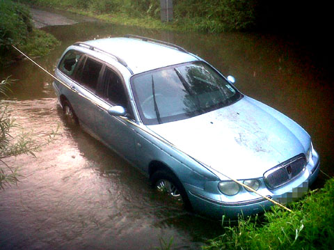 WATER WAY: A picture of the car at Shell ford near Himbleton submitted by Worcester News reader Mark Small.