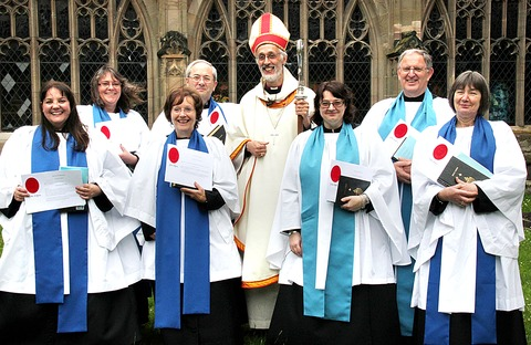 WELCOME: The Bishop of Dudley David Walker appoints the new lay ministers, including Paul Kemp and Peter Stansbie, during the special service held at Worcester Cathedral.