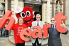 HEART CITY: Worcester Mayor Councillor Roger Berry with BHF fund-raising manager, Donna Stokes, former heart patient, John Bradley and BHF mascot, Mr Hearty, at the Guildhall.