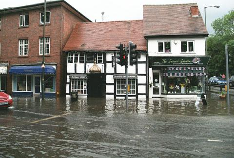 St George's Square in Droitwich was hit badly by the flash floods which wreaked havoc across the region on Thursday morning.