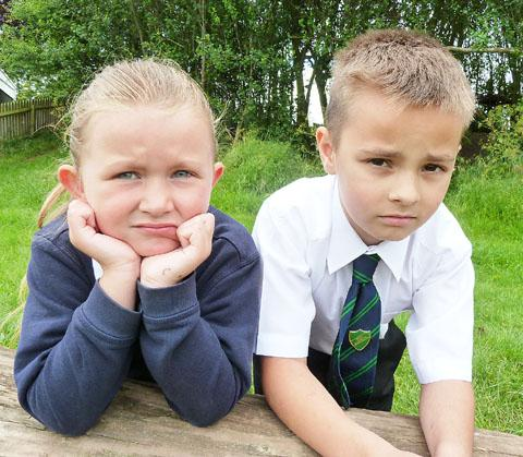 UPSET: Burlish Park pupils Louise Loveridge aged six,  and Elliott Stringer, eight