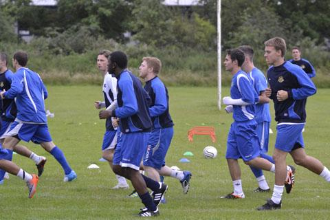 Worcester News: ON THE MOVE: BACK IN TRAINING: The City squad go through their first pre-season training session at Pershore High School ahead of their Blue Square Bet North opener against Bradford Park Avenue on Saturday, August 18.
