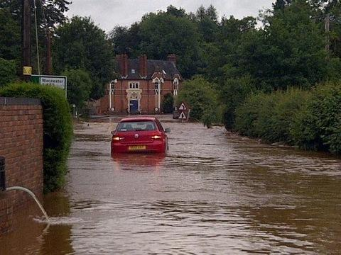 The flooded road at Newnham Bridge earlier today. Picture by reader Simon Jefferies