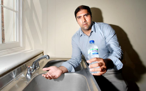 DRY: Councillor Jabba Riaz was called by many irate residents after their water was cut off.