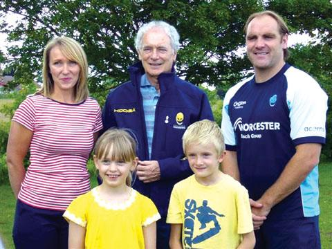 WORLD SPORTS DAY FUN: Headteacher Julia Dean, Cecil Duckworth and Andy Goode, from Worcester Warriors, with, front, Laura Cole and Sam Morgan.