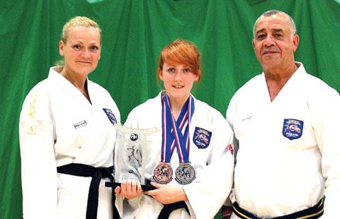 Karate success: (left to right) Solfrid Daniels, Josie Farrow and Shihan Eddie Daniels.