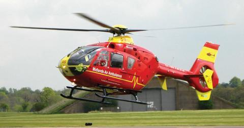 The Strensham-based air ambulance airlifted the rider to hospital