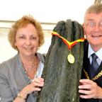 QUALITY: The Mayor and Mayoress Roger and Jill Berry get to grips with a most remarkable giant marrow (33113108)