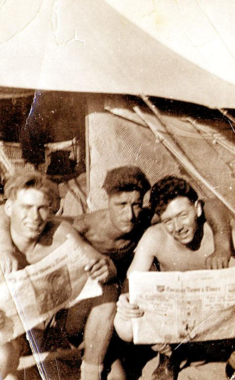 COMRADES: Bernard O'Grady, pictured on the right, with two friends in 1953
