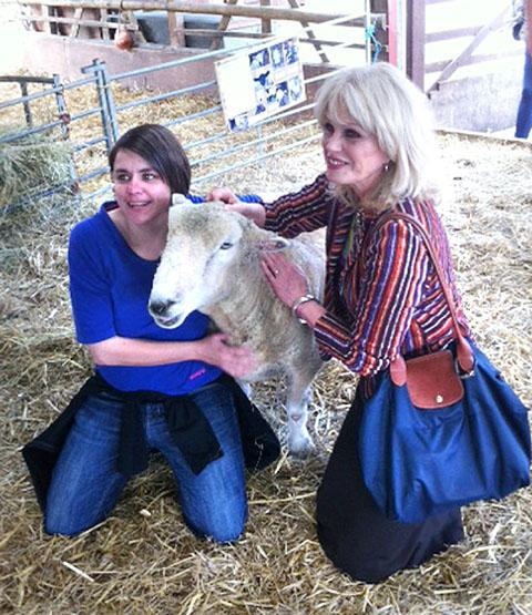 ALL SMILES: Volunteer Marie Sollis with Joanna Lumley.