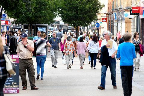 WORCESTER: Shoppers mingling in the High Street