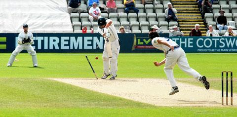 CRASH OF ASH: Worcestershire all-rounder Joe Leach loses his off stump to Chris Wright.