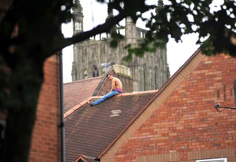 MAN ON THE ROOF: A picture from earlier today