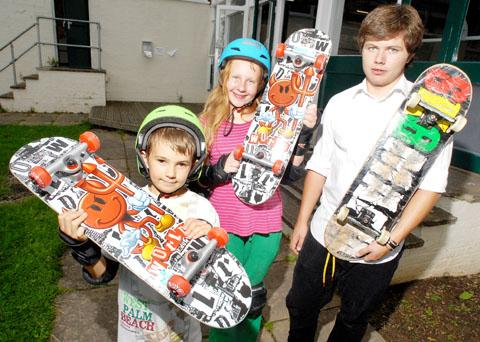 BOARDING SCHOOL: Three skateboarders who took part were, from left, Dylan Andrews, aged 10, Rebecca Webb, 11, and Dominic Keen, 16. 34114203.