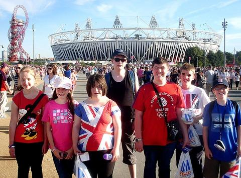 A DAY TO REMEMBER: The youngsters enjoying their day out at the Olympic stadium in London.