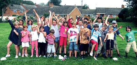 big challenge: The children taking part in the event attend Powick and Kempsey primary schools.