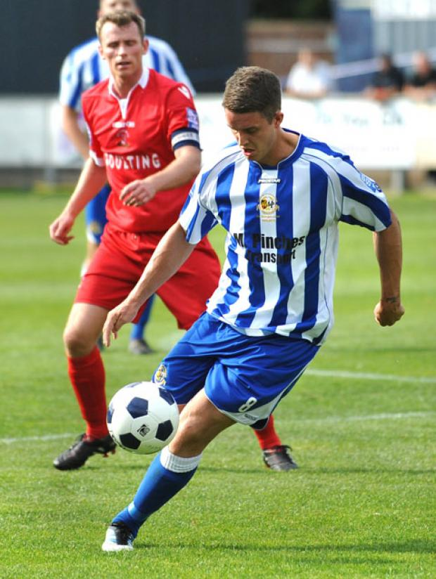 IN CONTROL: City's Rob Elvins in possession against Droyslden on Saturday in their 2-1 victory.