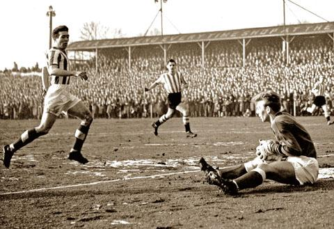CLASSIC CUP TIE: City goalkeeper John Kirkwood and defender Eddie Wilcox watched by 17,042 at    St George's Lane during the 1959 FA Cup fourth round clash with Sheffield United.