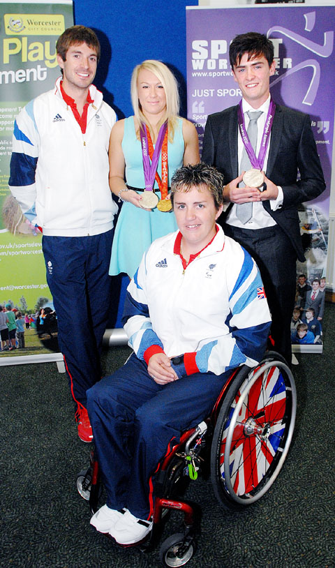 AWARD WINNERS: Olympic and Paralympic medallists Zac Purchase and Mel Clarke with two of the title winners at the annual Worcester Sports Awards, female sports personality of the year Chelsea Weston and volunteer of the year Joshua Hanley.