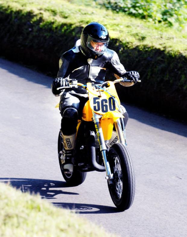 FULL THROTTLE: Julian Kendall, of Martley, in action at Shelsley Walsh on his Suzuki 402cc.