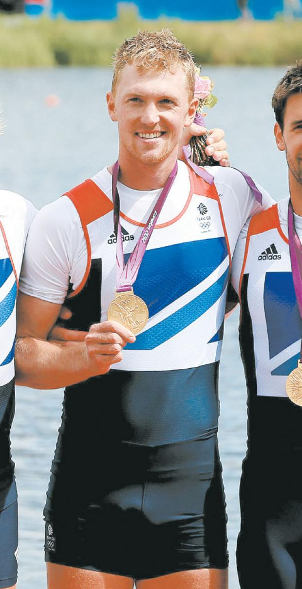 olympic champion: Alex Gregory with his gold medal.