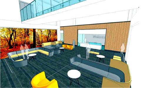 CALMING ATMOSPHERE: An artist's impression of the entrance lounge of the new £24 million radiotherapy unit.