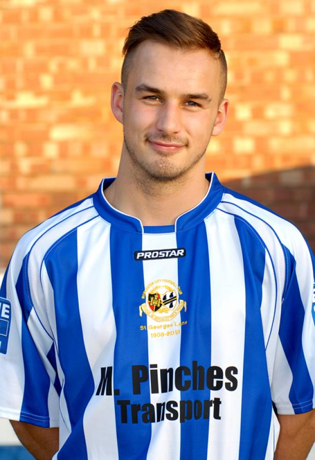 Worcester City midfielder Matt Breeze.