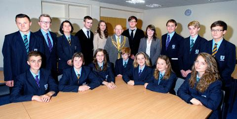 Pershore mayor Charles Tucker with members of the town's youth council during a meeting at Pershore High School.