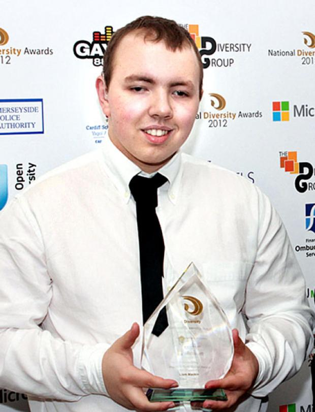 PROUD: Liam Mackin with his award in Manchester.