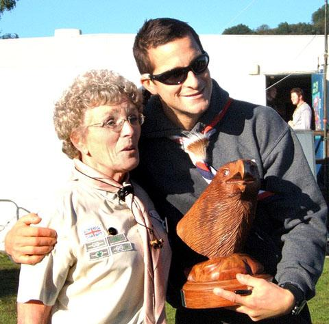 BEAR HUG: UK Chief Scout Bear Grylls with Ann Clark, deputy county commissioner (Hereford and Worcester Scout county)