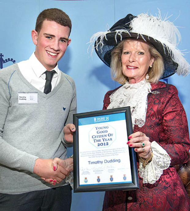 CARING: Timothy Dudding with the High Sheriff of Worcestershire, Penelope Lewis.