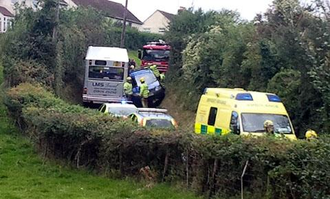 crunch: The latest traffic incident on the lane in Hinton-on-the-Green, near Evesham.