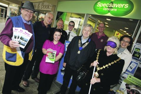 Sight concern: Mayor Anne Taft helps highlight the problems faced by blind visitors.