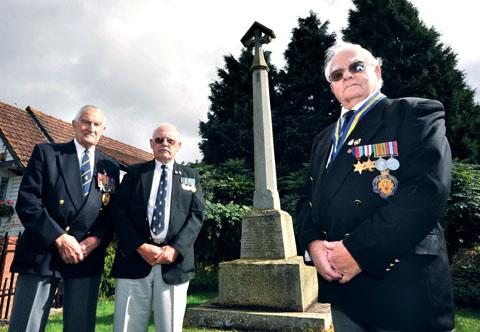 PLEA: Powick and Callow End RBL chairman Guy Phillips, right, with members Peter James, left, and John Mason are appealing for new members to stay open. Picture by John Anyon. 40143101