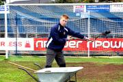 DEDICATED: Groundsman Tom Allcut, along with Paul Humphries, have been working hard on the St George's Lane pitch.