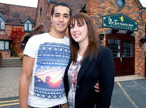 HAPPY COUPLE: Worcester News wedding competition winners Joseph Leighton and Leanne Turner at the Pear Tree country hotel. 42159104