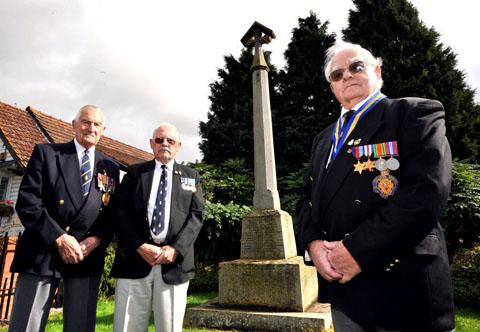 BATTLING ON: Powick and Callow End Royal British Legion chairman Guy Phillips, right, with members Peter James, left, and John Mason, who is stepping up to the helm once again. Picture by John Anyon. 40143101.