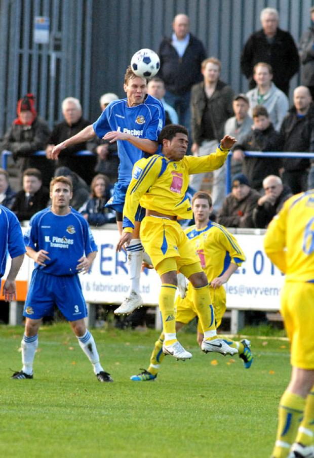 CUP BLOW: Worcester City's Lee Ayres pulled up with a knee injury during his side's 3-1 extra-time defeat to Redditch in the Worcestershire FA Senior Cup quarter-final.