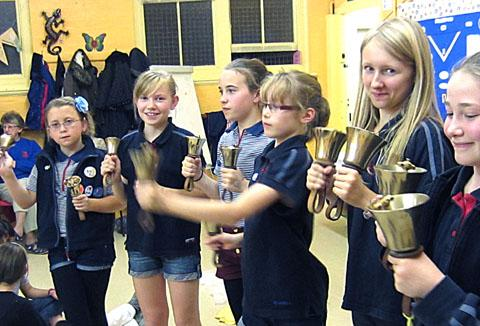 BELLRINGERS: Girls from 25th Worcester Guides learn how to play handbells for their Bluebell Challenge badge.
