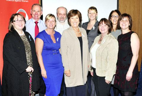 UNITED: Lynda Bellingham, centre, with delegates from, among others, the University of Worcester, West Mercia Women's Aid, West Mercia Police and White Ribbon Campaign UK.