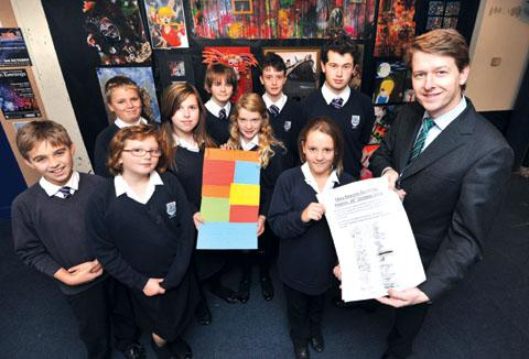 BACKING MARY: Christopher Whitehead Language College pupils hand their petition to Worcester's MP Robin Walker.