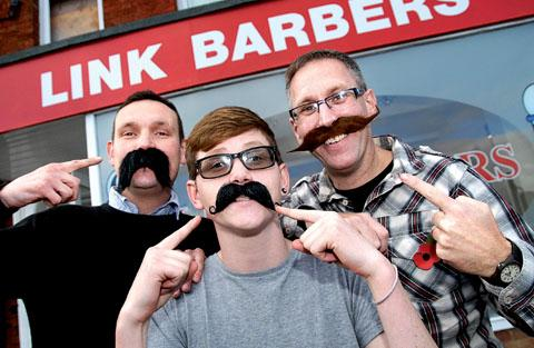 From left: Si Moore, Jon Cottrell and Brian Hastie get into the spirit of Movember. Picture taken by Nick Toogood. BUY THIS PHOTO: worcesternews. co.uk/pictures/sales. 44165301.