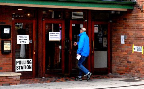 DECISION DAY: A voter enters the polling station at the Swan Theatre in Worcester (46178604)