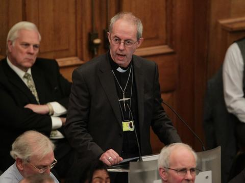 Rt Rev Justin Welby, the incoming VOTE: Archbishop of Canterbury speaking during a meeting of the General Synod